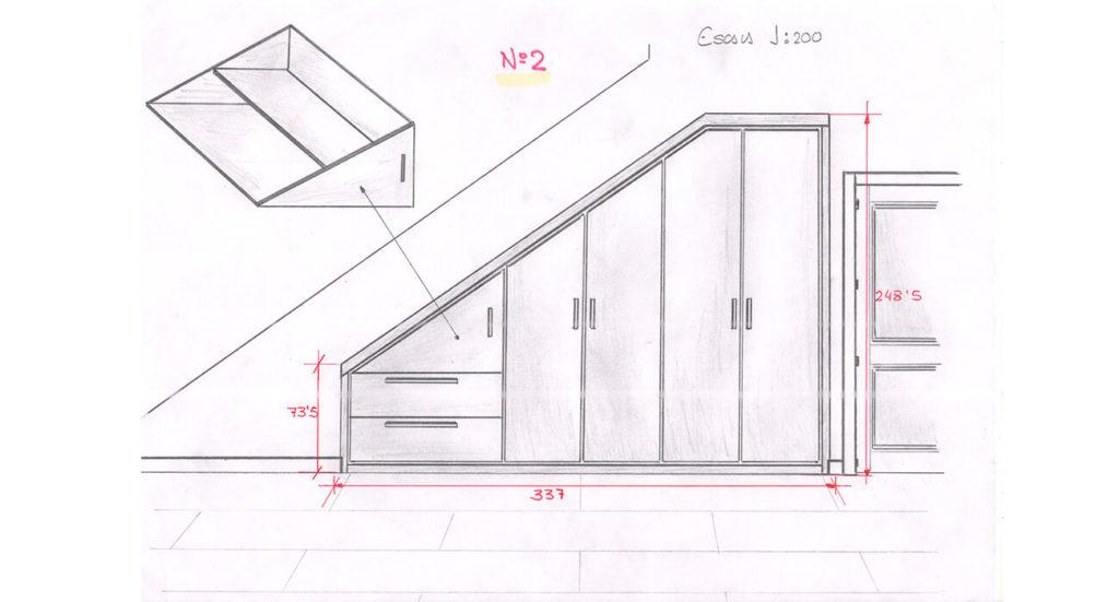 Boceto mueble escaleras a medida